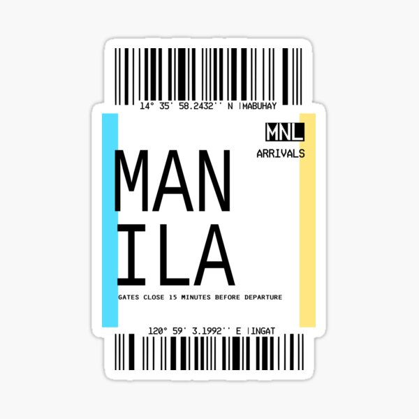 MANILA PLANE TICKET PHONE CASE FILIPINO Sticker