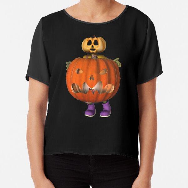 Creepy Pumpkin Man Halloween  Chiffon Top