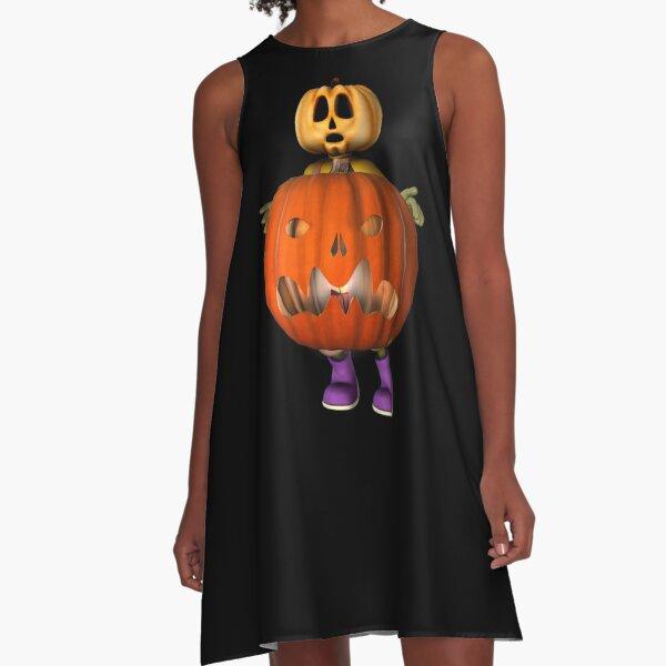 Creepy Pumpkin Man Halloween  A-Line Dress