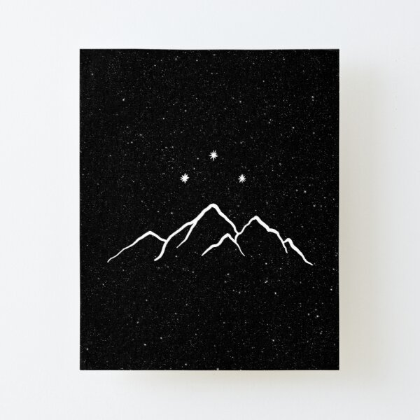 Night court - starry black and white Canvas Mounted Print