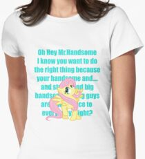 Hey Mr.Handsome! Womens Fitted T-Shirt
