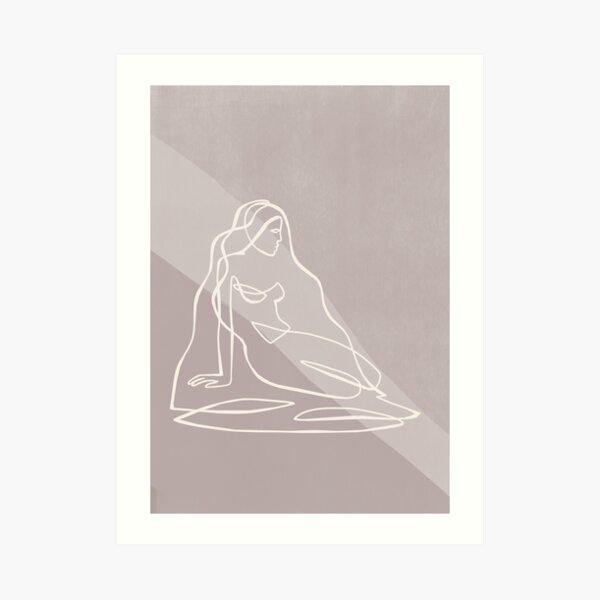 Abstract Woman Figure - Beige Line Art Art Print