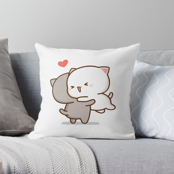 Peach and Goma Hug - Mochi Peach Cat Throw Pillow
