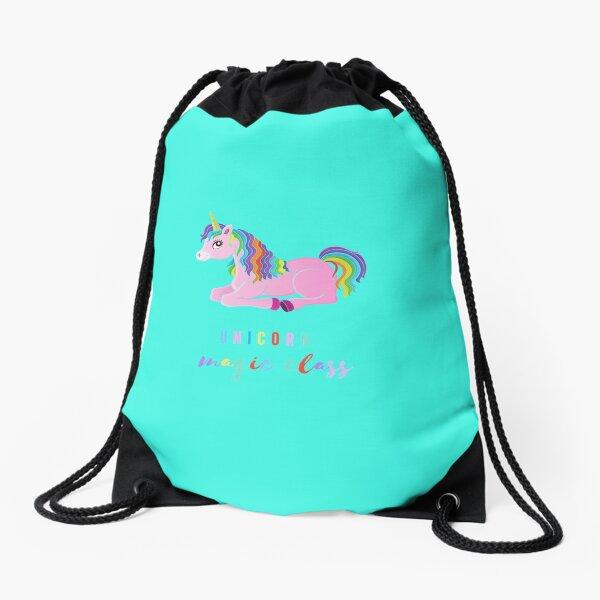 magic class, funny gift with unicorn for kids or kindergarten teacher Drawstring Bag