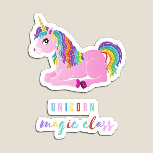 magic class, funny gift with unicorn for kids or kindergarten teacher Magnet