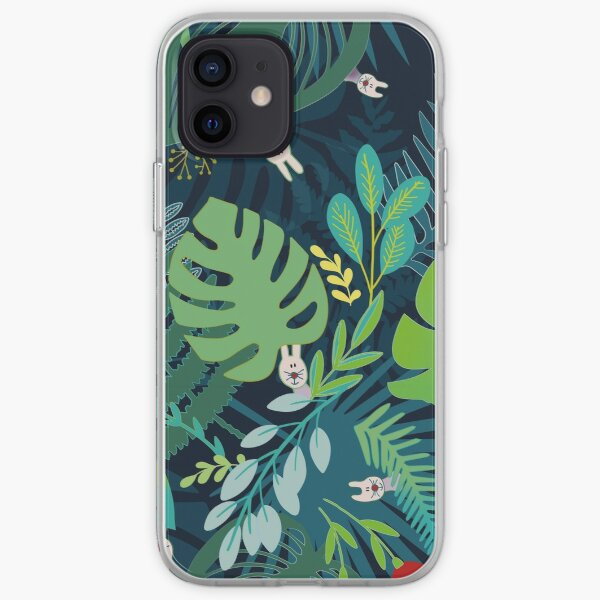 Little bunnies hiding in the jungle iPhone Soft Case