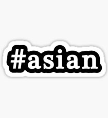 Asian - Hashtag - Black & White Sticker