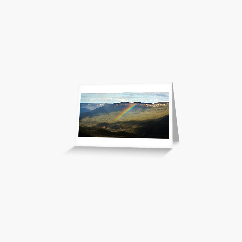 Rainbow over Mt Solitary Greeting Card