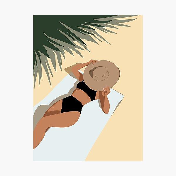 A beach girl in black bikini Photographic Print
