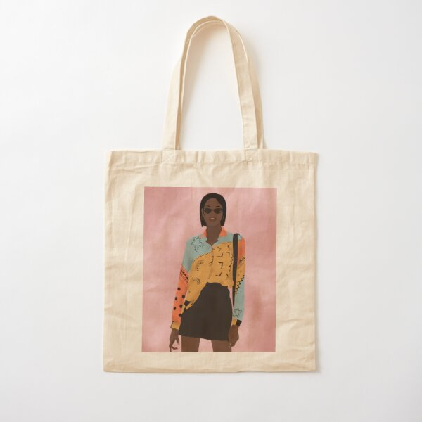 Color block shirt with pencil skirt Cotton Tote Bag