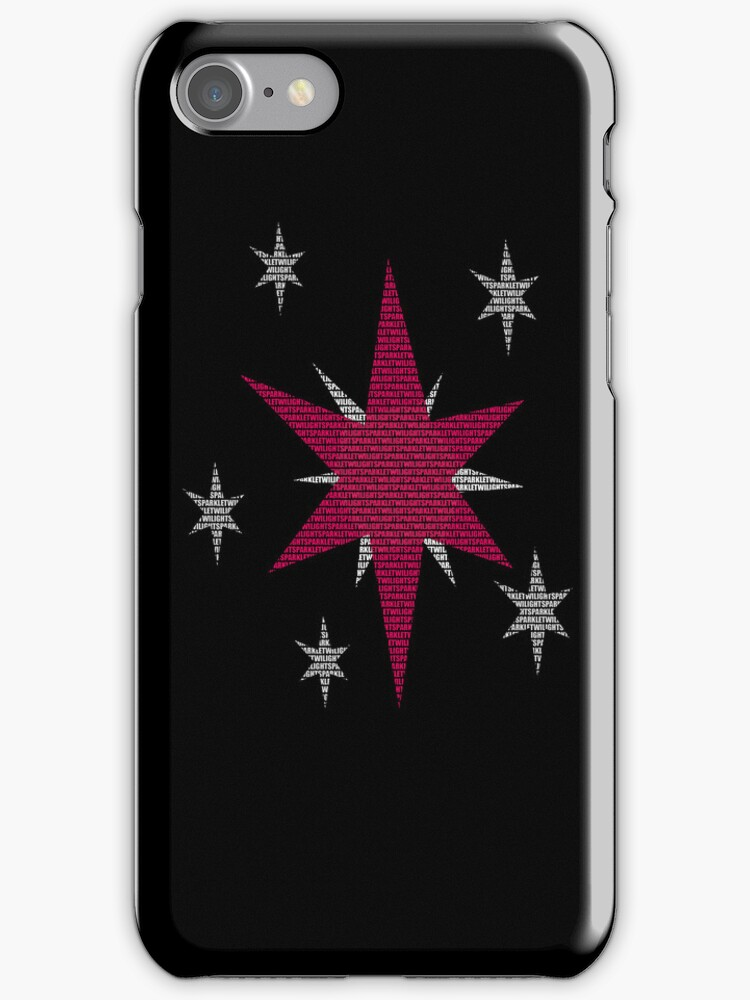 Twilight Sparkle Text Black iPhone Cover by Alessandro Ionni