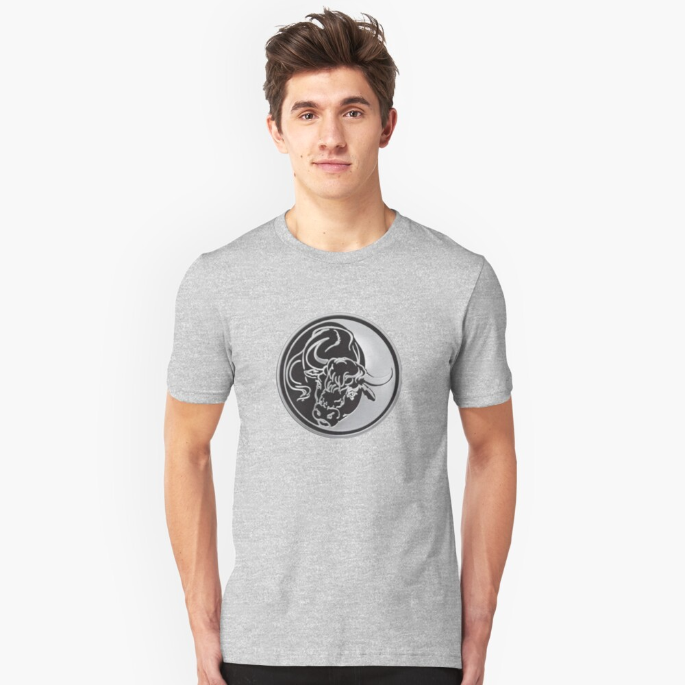 Black Bull Silhouette In Tattoo Style On Silver Unisex T-Shirt Front