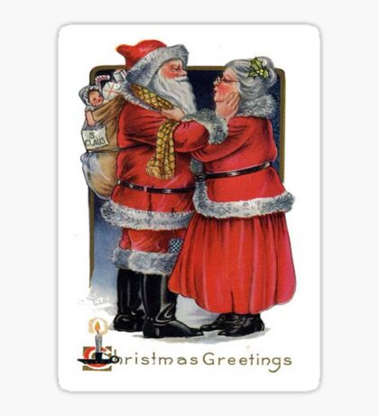 Vintage Christmas Greetings from Mr and Mrs Claus Sticker