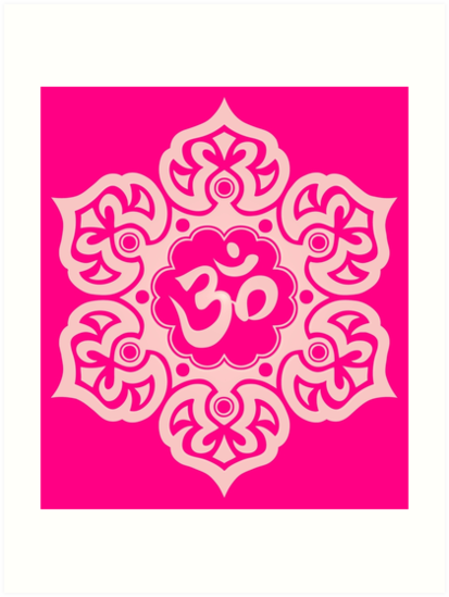 Pink lotus flower yoga om art prints by jeff bartels redbubble pink lotus flower yoga om by jeff bartels mightylinksfo