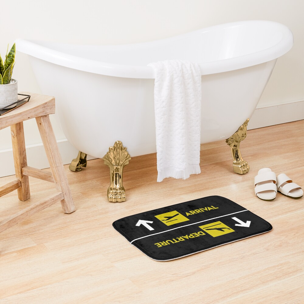 Aviation Departures Arrivals Bath Mat
