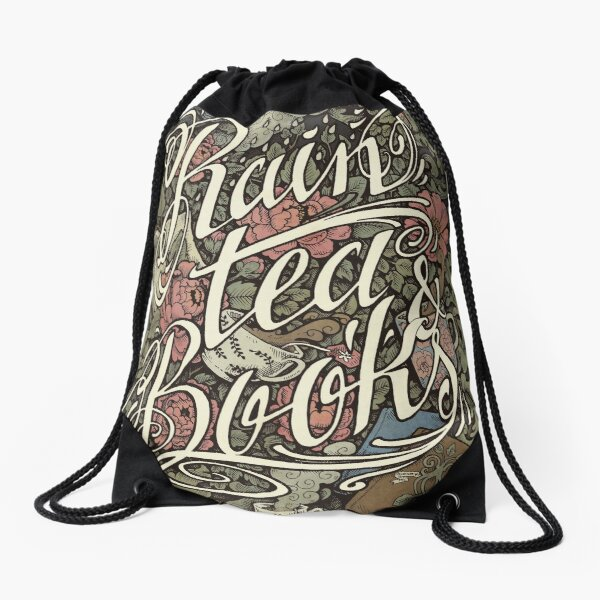 Rain, Tea & Books - Color version Drawstring Bag