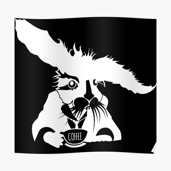 Copy of Rabbit with a suit drinks coffee. Poster
