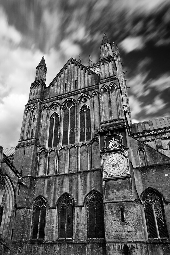 Clouds over Wells Cathedral in Black and White by kernuak