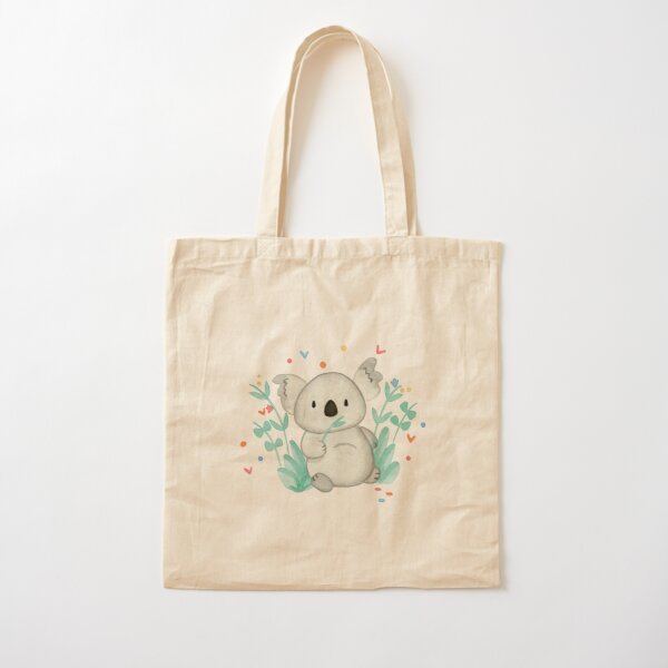 Koala In The Floral Cotton Tote Bag
