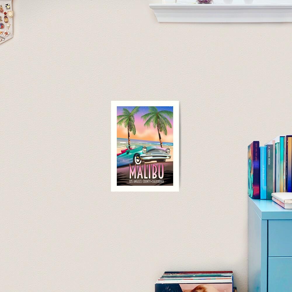 Malibu, Los Angeles, California Vintage travel poster Art Print