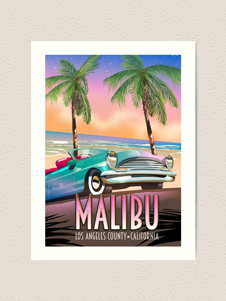 Alternate view of Malibu, Los Angeles, California Vintage travel poster Art Print