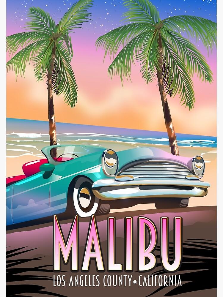 Malibu, Los Angeles, California Vintage travel poster by vectorwebstore