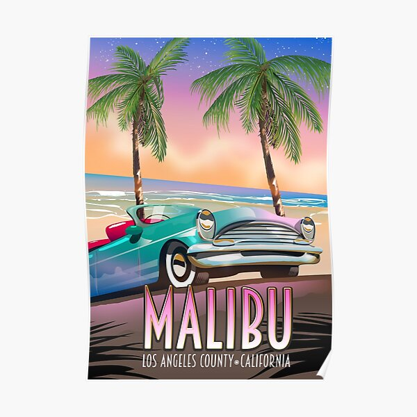 Malibu, Los Angeles, California Vintage travel poster Poster