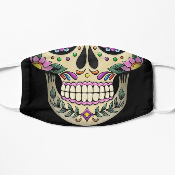 Mexican Skull Face Mask | Reusable Printed Catrina Face Mask | Day of The Dead Face Mask Flat Mask