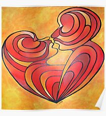 Lovers Kiss And Their Bodies Form A Love Heart Poster