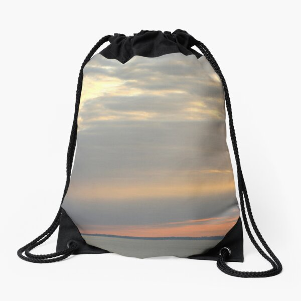 Sunset over the sea Drawstring Bag
