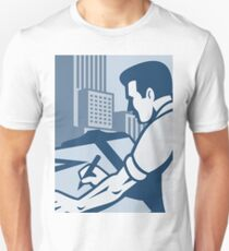 Architect Draftsman Drawing Buildings Retro T-Shirt