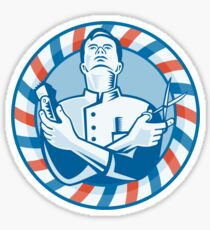 Barber With Clipper Hair Cutter and Scissors Sticker