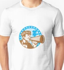 Movie Film Director With Bullhorn And Camera Retro T-Shirt