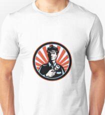 Policeman Security Guard With Flashlight Retro T-Shirt
