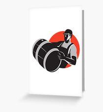 Man Carrying Wine Barrel Cask Keg Retro Greeting Card