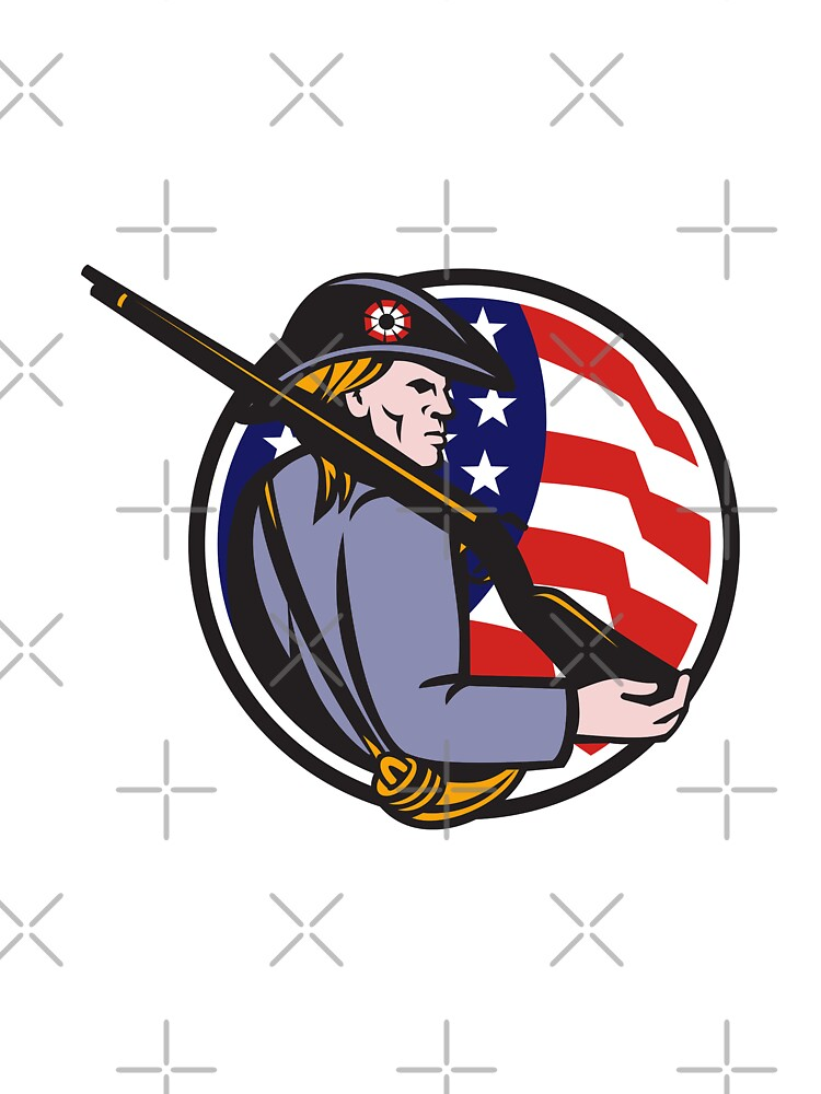 American Patriot Minuteman With Rifle And Flag by patrimonio