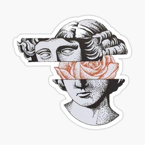 Greek Statue With Flower Mind Sticker