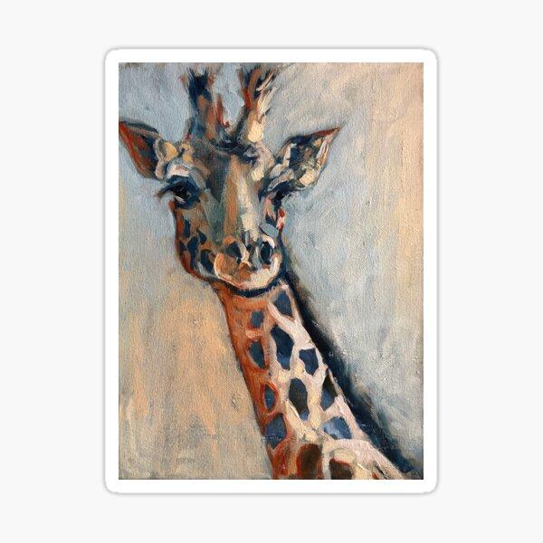 Painterly Giraffe Portrait in Colour Sticker