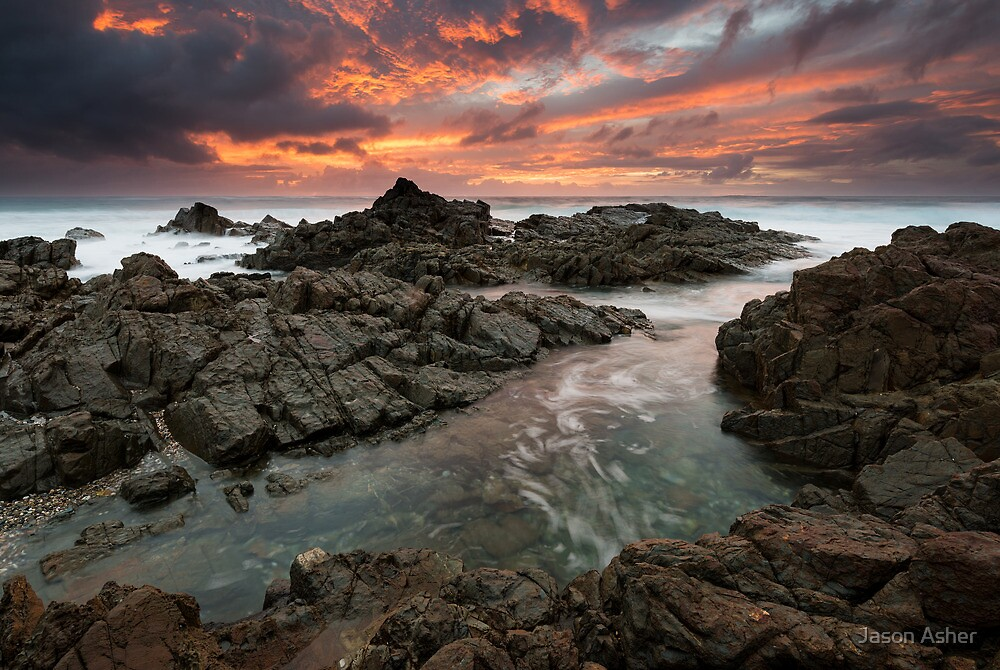"""Amidst the Flames of Dawn"" ∞ Hastings Point, NSW - Australia by Jason Asher"