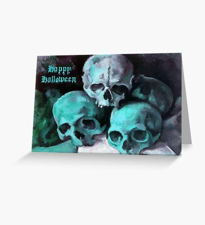 Happy Halloween Pile of Skulls in Teal  Greeting Card