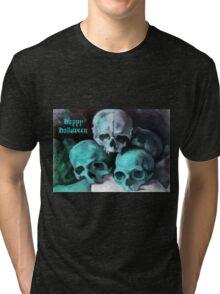Happy Halloween Pile of Skulls in Teal  Tri-blend T-Shirt