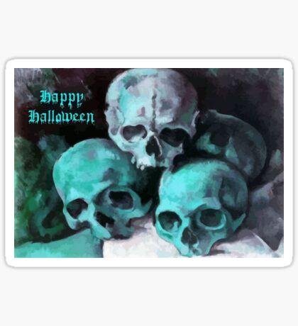 Happy Halloween Pile of Skulls in Teal  Sticker