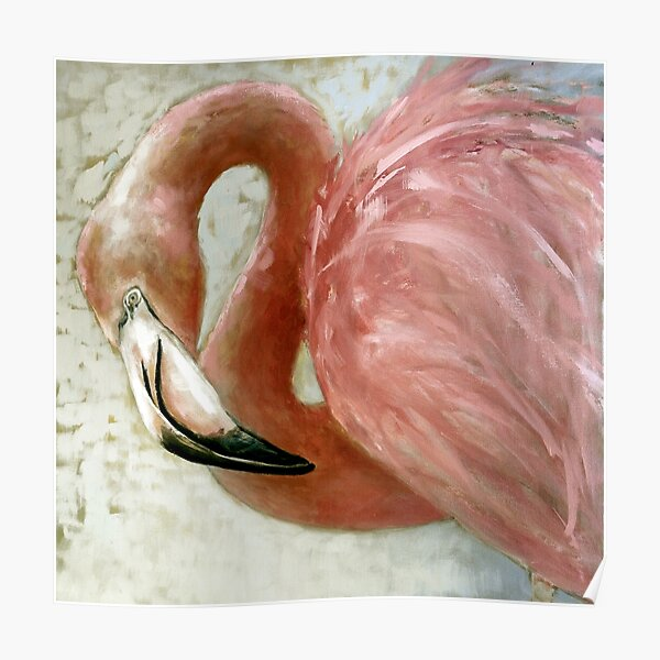 Painted Pink Flamingo Poster