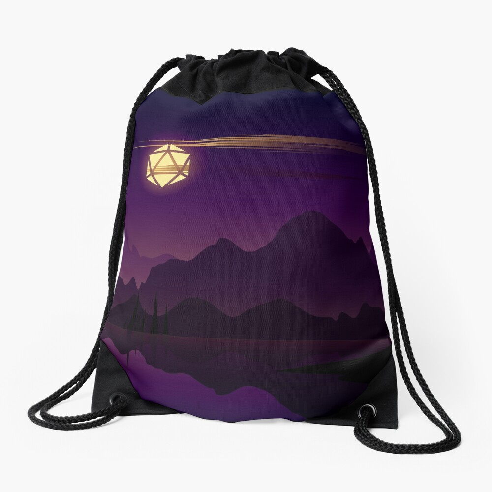 Synthwave Full Moon D20 Dice RPG Night Roleplaying Landscapes Drawstring Bag