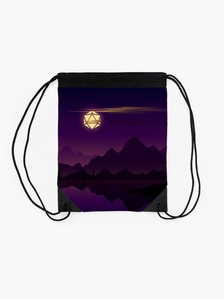 Alternate view of Synthwave Full Moon D20 Dice RPG Night Roleplaying Landscapes Drawstring Bag