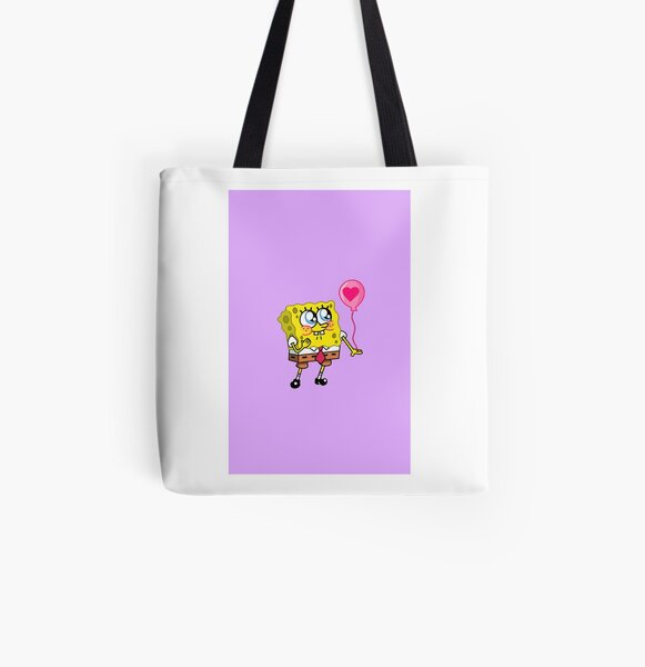 Spongebob with balloon purple  All Over Print Tote Bag