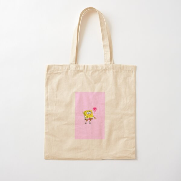Spongebob with balloon pink  Cotton Tote Bag
