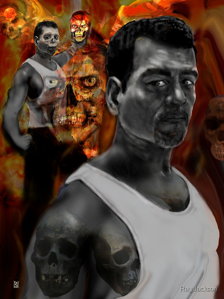 BATTLING MY DEMONS .a dark self portrait 2 by Ray Jackson