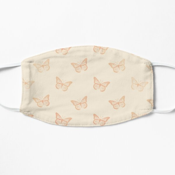 Minimalist Monarch Butterflies in Coral and Yellow Cream Mask