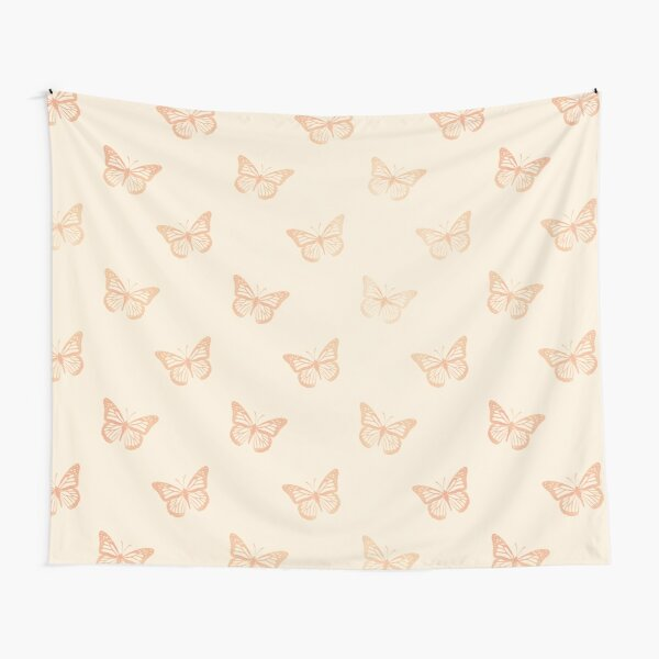 Minimalist Monarch Butterflies in Coral and Yellow Cream Tapestry